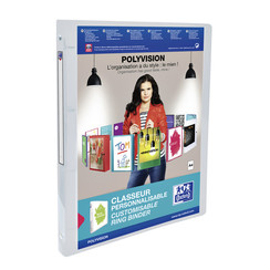 Presentatieringband Oxford Polyvision A4 4-rings O-mech 15mm transparant