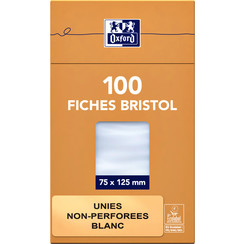 Flashcard Oxford 75x125mm 100vel 210gr blanco wit