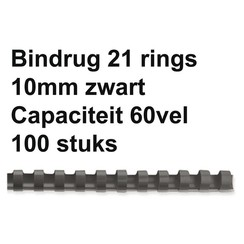 Bindrug GBC 10mm 21rings A4 zwart 100stuks