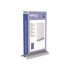 Kaarthouder OPUS 2 T-standaard A4 staand acryl aluminium