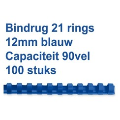 Bindrug GBC 12mm 21rings A4 blauw 100stuks