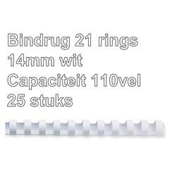 Bindrug Fellowes 14mm 21rings A4 wit 25stuks