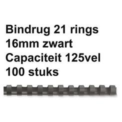 Bindrug Fellowes 16mm 21rings A4 zwart 100stuks