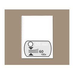 Draadrug GBC 8mm 34-rings A4 wit 100stuks