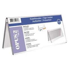 Tafelnaambord OPUS 2 V-standaard  210x100mm acryl