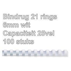 Bindrug Fellowes 6mm 21rings A4 wit 100stuks