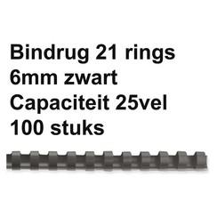 Bindrug Fellowes 6mm 21rings A4 zwart 100stuks