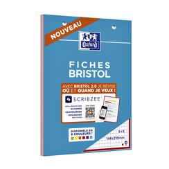 Flashcard Oxford Bristol A5 30vel 210gr ruit 5mm assorti