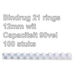 Bindrug Fellowes 12mm 21rings A4 wit 100stuks