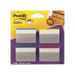Indextabs 3M Post-it 686 strong gebogen 38x50.8mm 4 kleuren