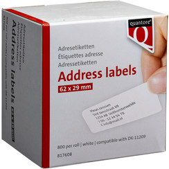 Labeletiket Quantore DK-11209 29x62mm adres wit