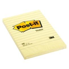 Memoblok 3M Post-it 660YEL 102x152mm geel gelijnd