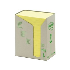 Memoblok 3M Post-it 655YRT 76x127mm 16 stuks recycled geel