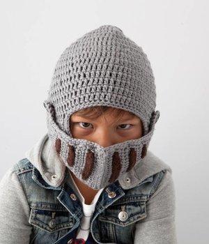 Crochet Knight Hat Grey