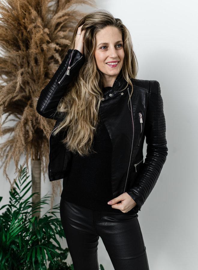 Zwart lederlook jasje