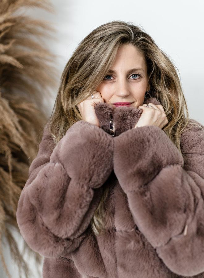 Oudroze faux fur jas kort