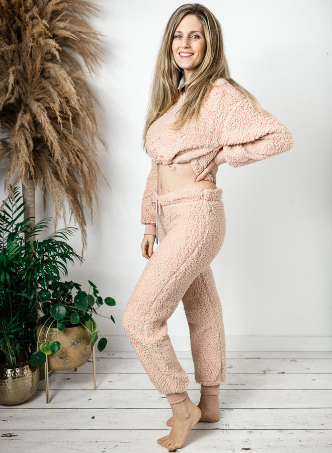 Roze teddy comfyset
