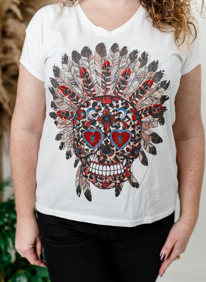 Witte t-shirt met doodskop