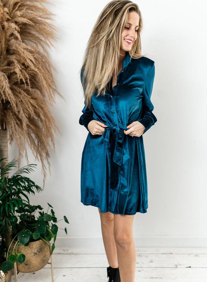 Blauw fluwelen kleed