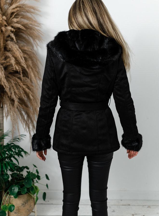 Zwarte daim jas met faux fur