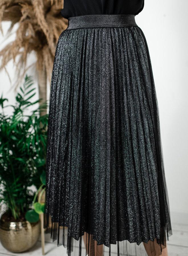 Zwarte tutu met zilver glitter onderrok