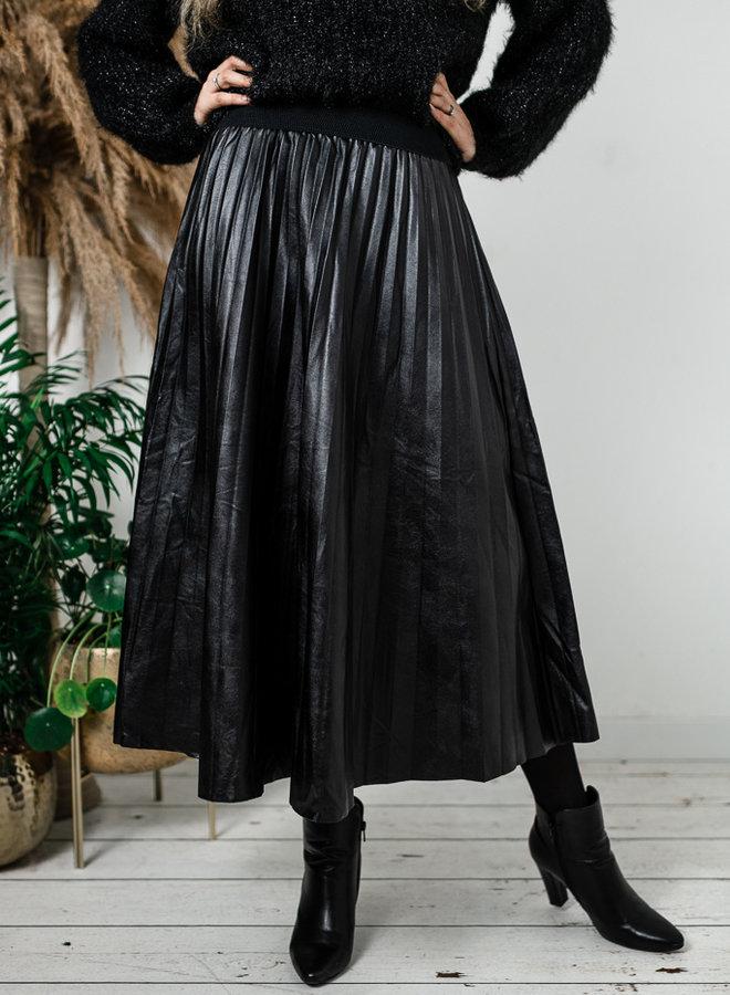 Zwarte lederlook rok