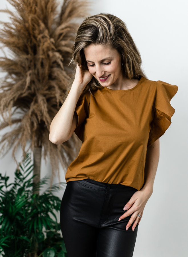 Bruine blouse met ruffles