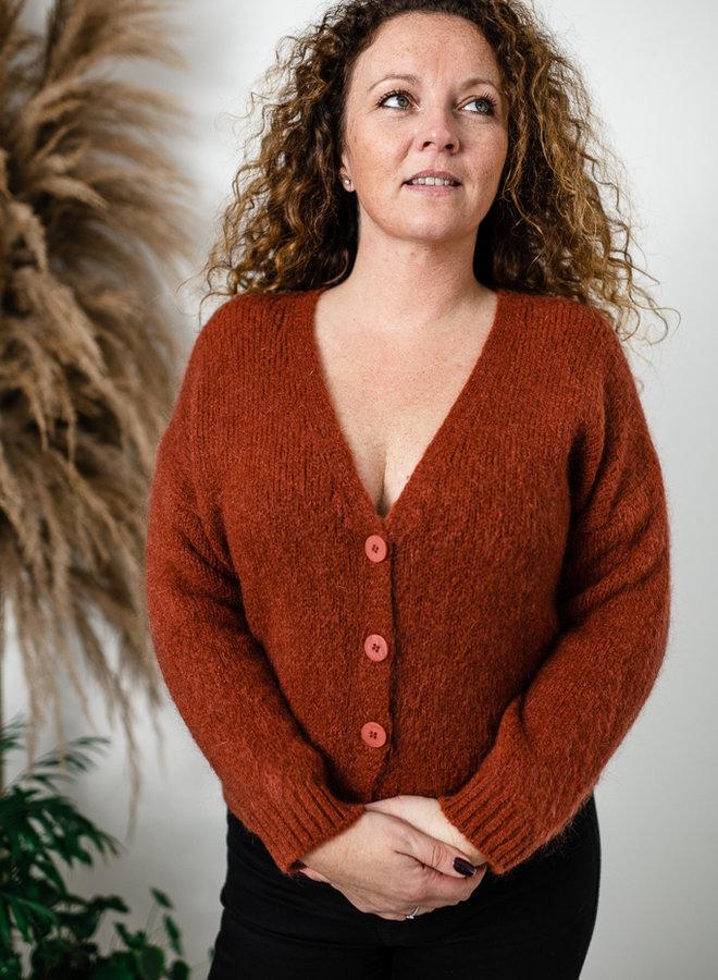 Roestbruine trui met knopen
