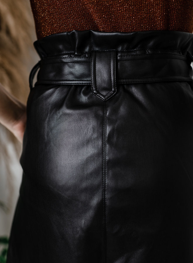 Lederlook rok met zakken