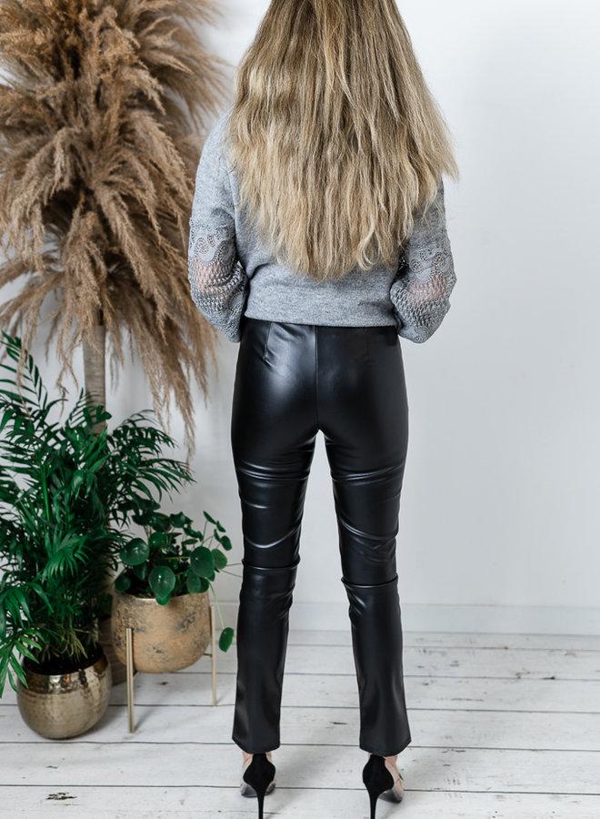 Lederlook broek met split zwart