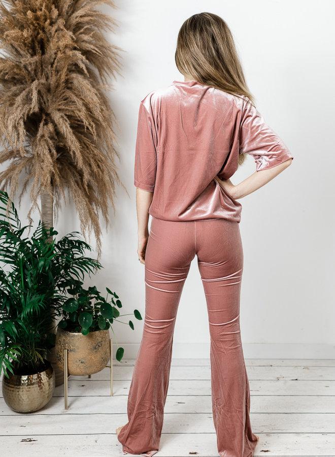 Fluwelen comfyset roze