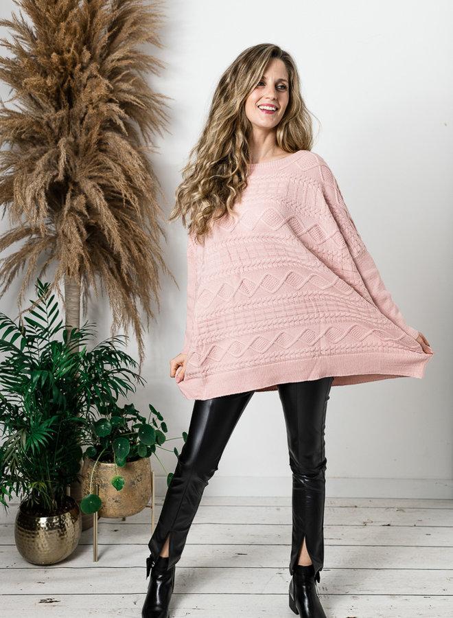 Super oversized trui met kabelmotief roze