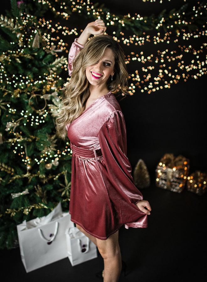 Fluwelen party dress roze