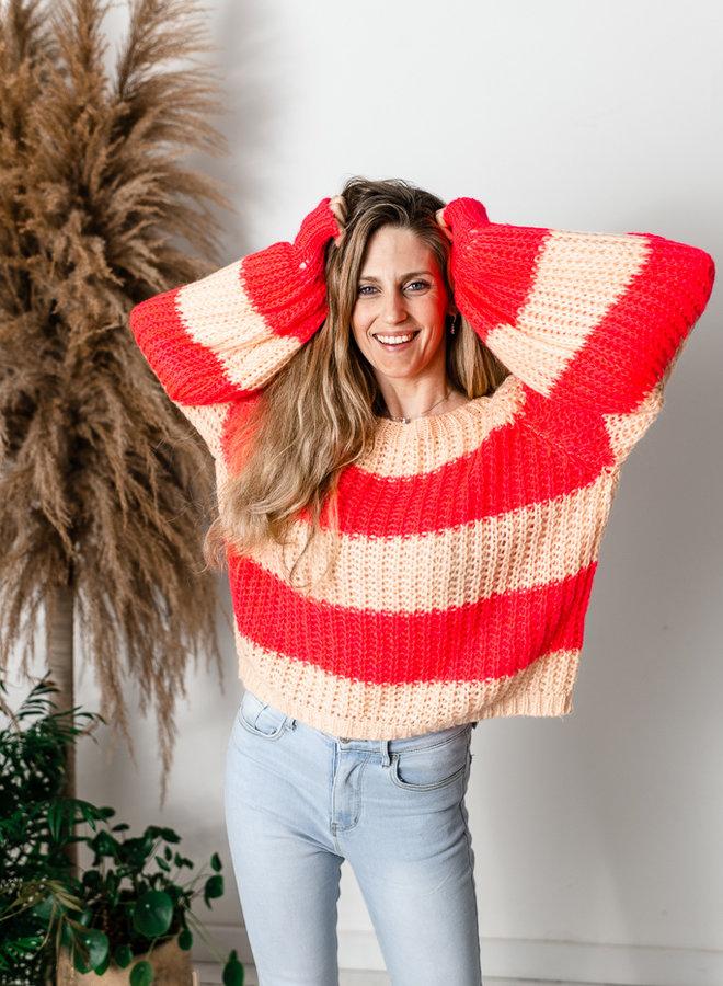 Anna Sweater Fluo Roze/Perzik