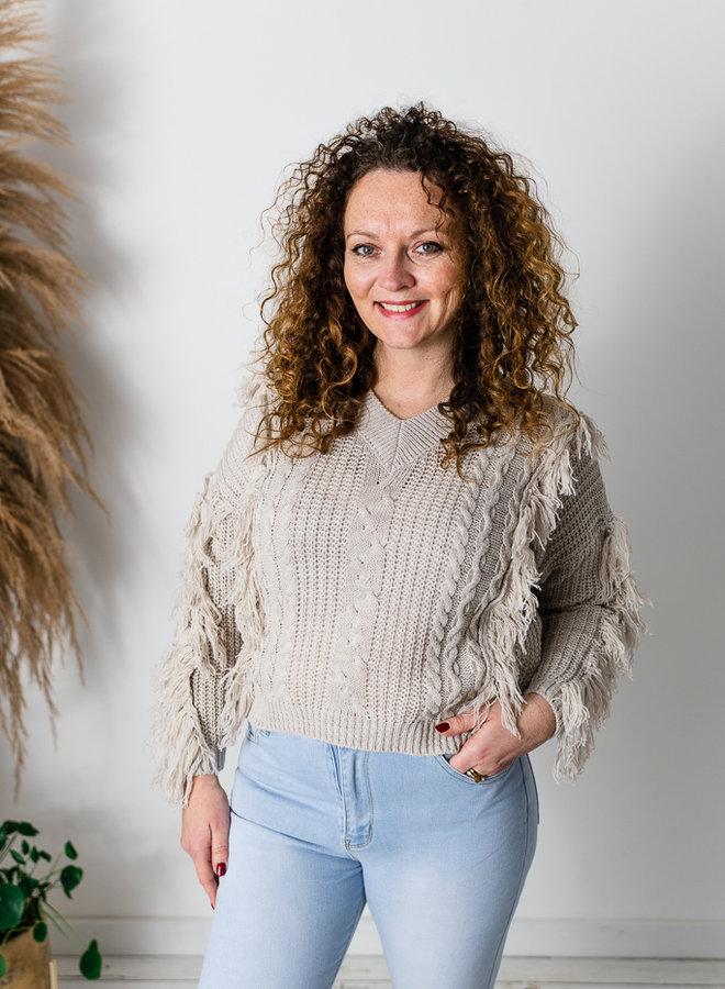 Fringe Sweater Beige