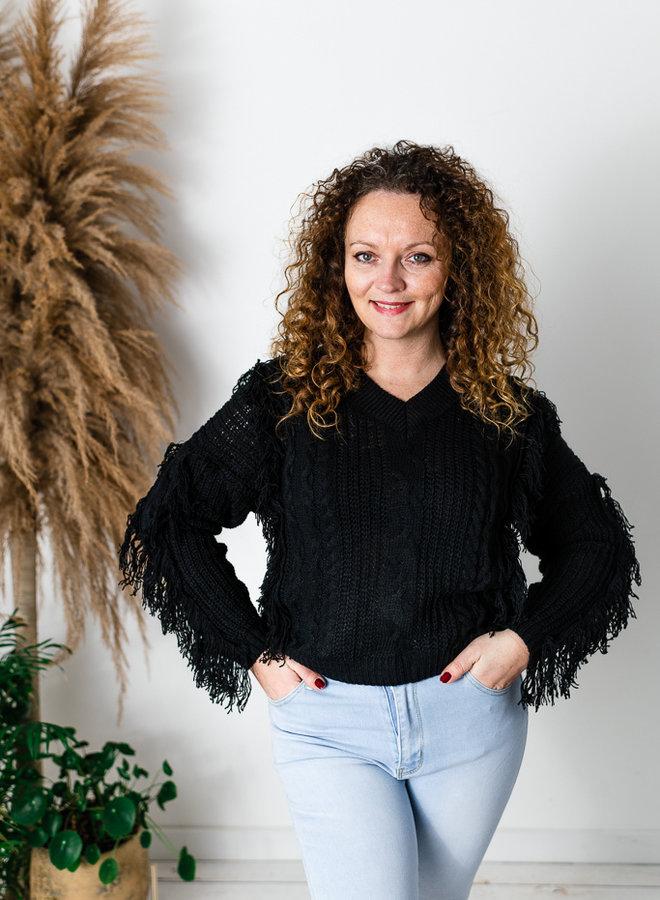 Fringe Sweater Zwart