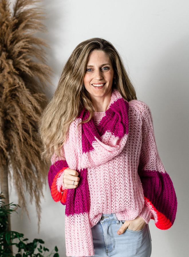 Sjaal roze/framboos