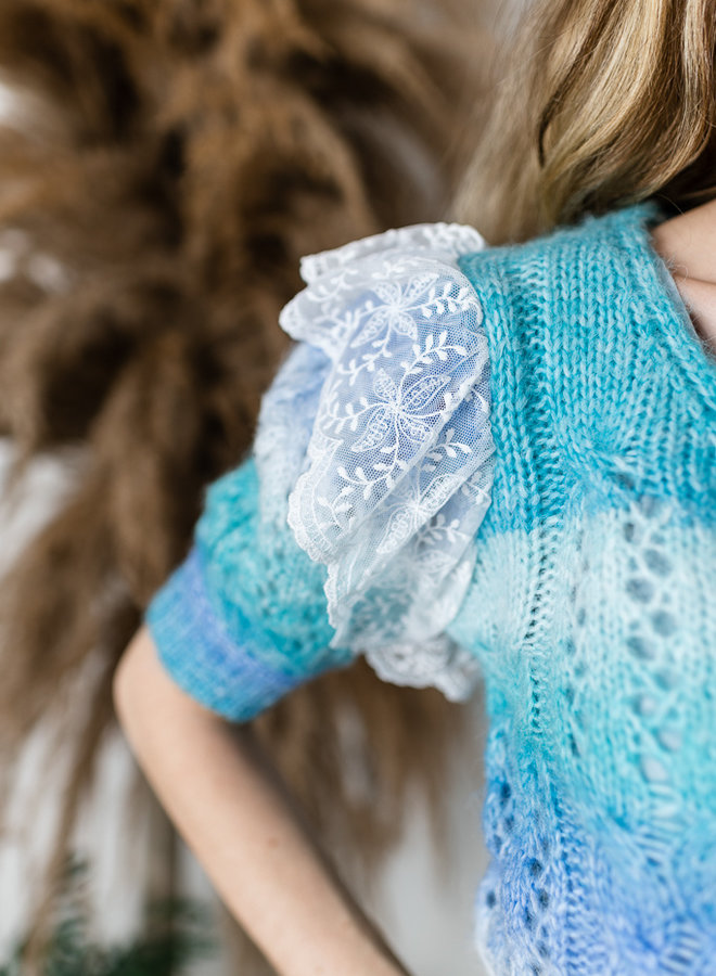 Shades Of Blue Lace Ruffle Sweater