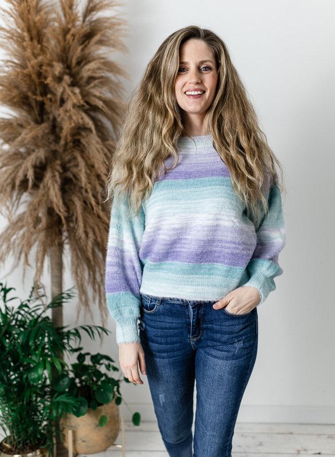 Colorful Stripes Sweater Mint/Purple