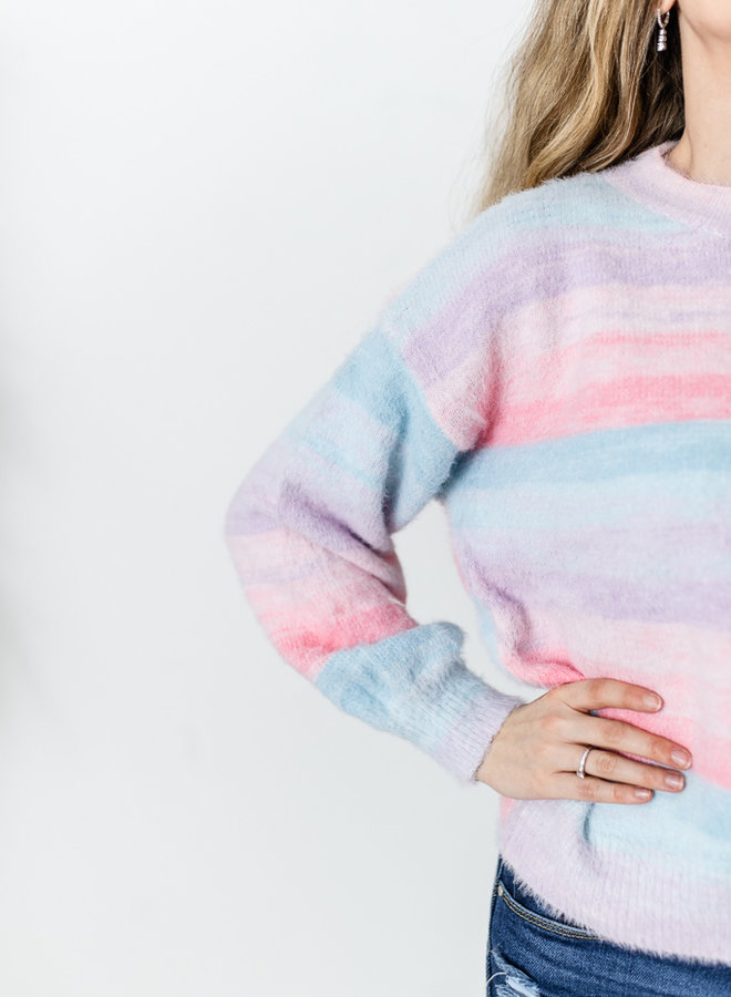 Colorful Stripes Sweater Pink/Blue