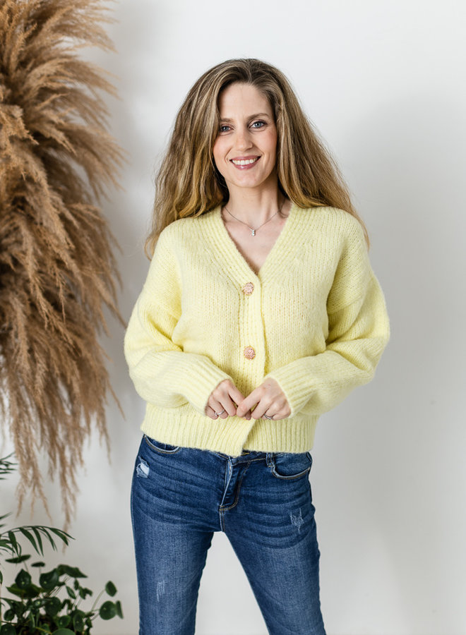 Cardigan with Golden Buttons geel