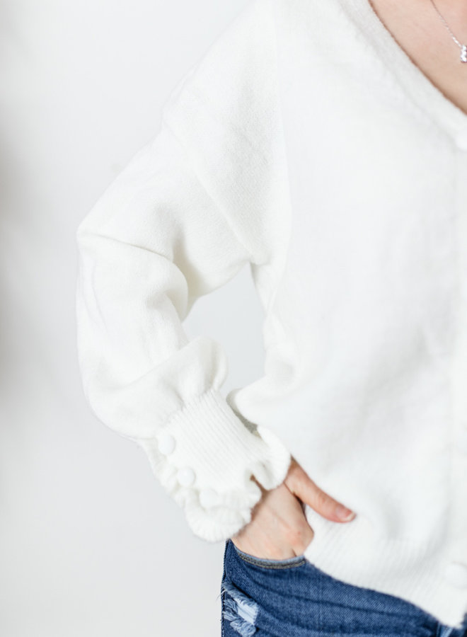 Cardigan with Ruffle Details white