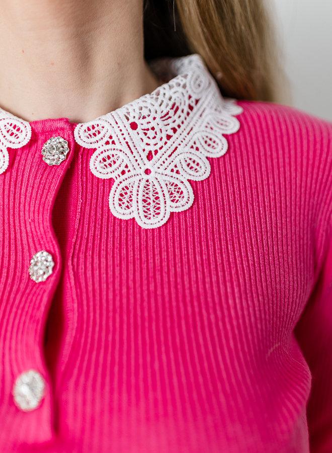 Daphne's Lace & Diamonds Shirt Fuchsia