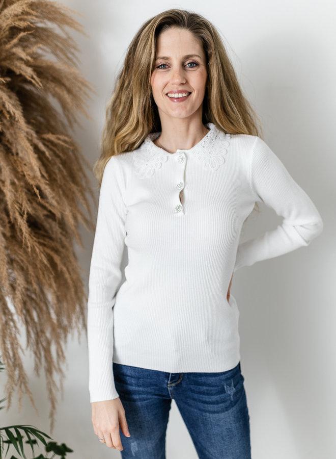 Daphne's Lace & Diamonds Shirt White