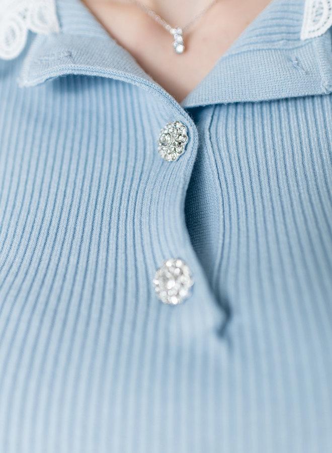 Daphne's Lace & Diamonds Shirt Blue
