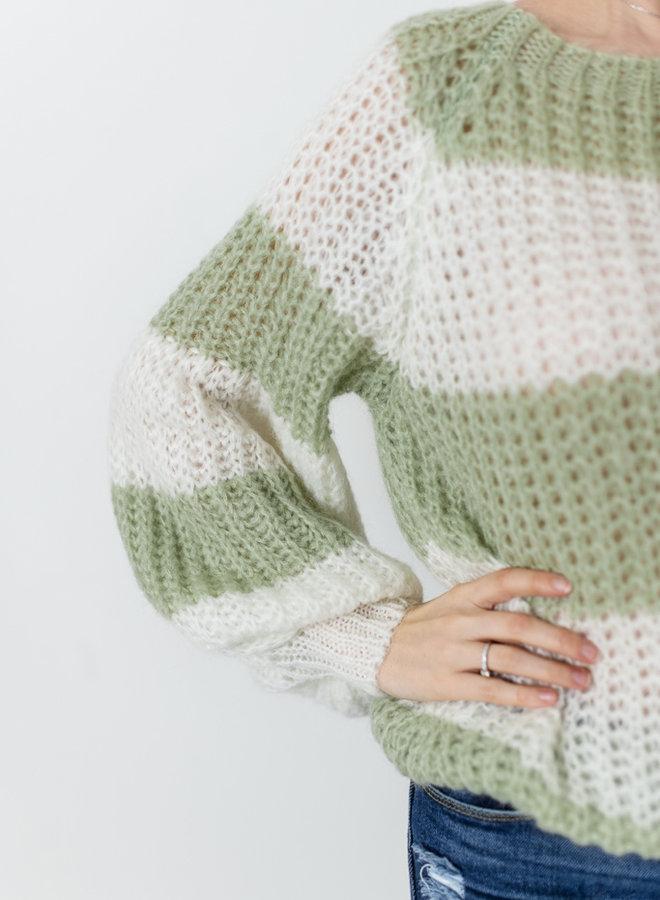Anna Sweater Groen/Wit