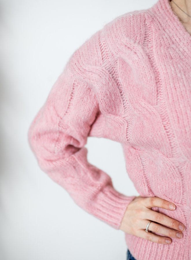 Cardigan with Golden Buttons pink