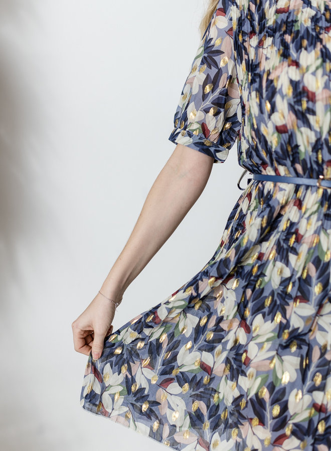 Blue Fortune Dress met riem