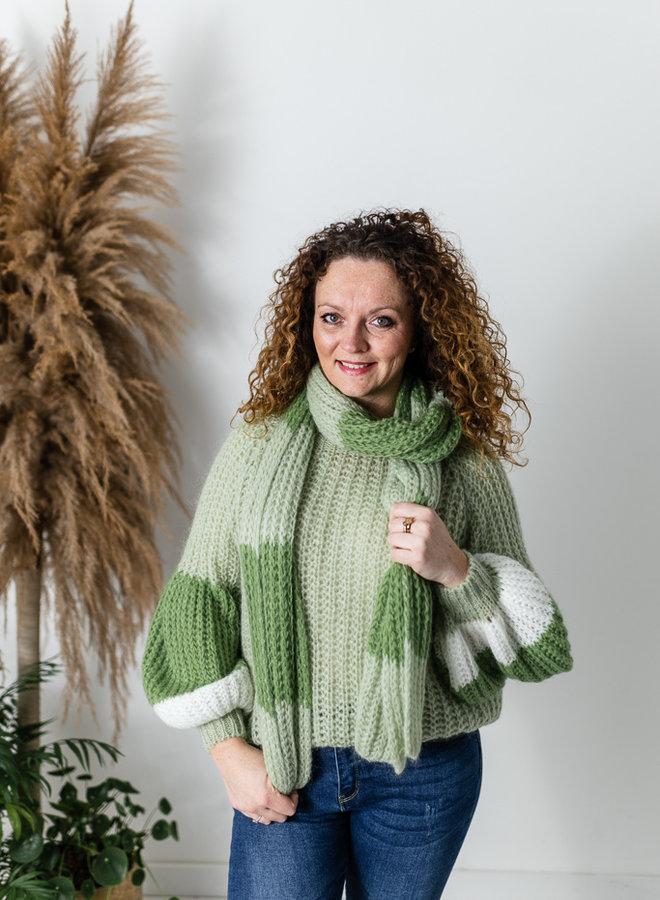 Elsa Sweater groen met sjaal