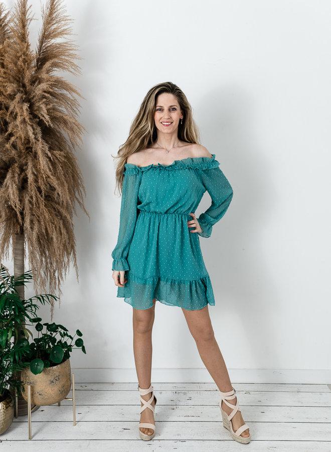 Off-Shoulder Dress Green